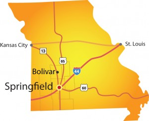 Bolivar regional map provided by the Springfield Chamber of Commerce